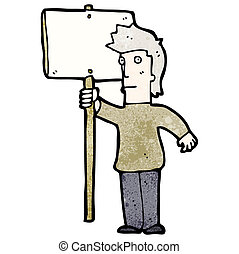 protestador, caricatura, señal
