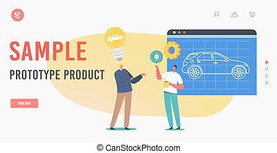 prototipo, template., presentación, muestra, process., página, producto, automóvil, proyecto, aterrizaje, ingenieros, automóvil, prototyping