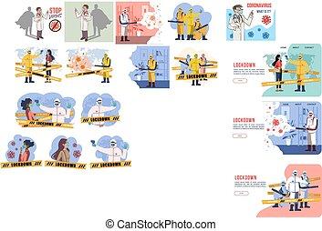 proveedores, atención sanitaria, lugar, lento, todos, esparcimiento, suficiente, vector, desinfectante, rociar, evitar, potential., covid-19, trabajando, encima, ilustración, extensión, virus., desinfección
