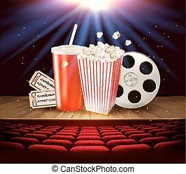 Provisiones de cine en un escenario de madera, bebida, palomitas, entradas. Vector.