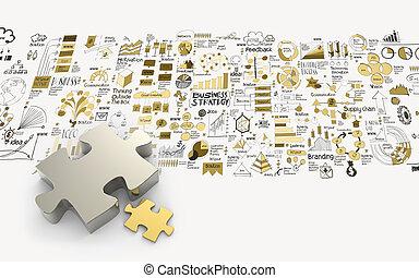 Provoca la asociación 3D y la estrategia de negocio a mano como concepto