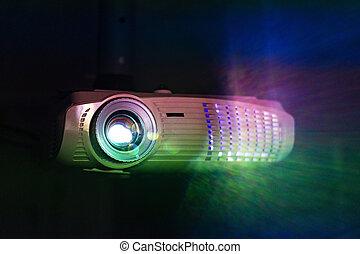 proyectar, proyector, movie., blanco, cine