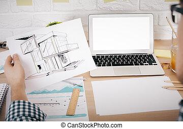 proyecto, arquitecto, valorar, mockup