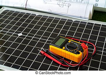 proyecto, cianotipo, solar, hogar, panel, rollo