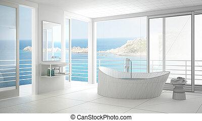 Proyecto inacabado de baño minimalista con ventana grande, diseño de interior abstracto