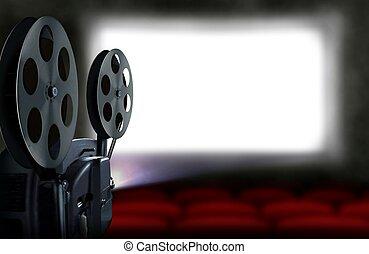 Proyector de cine con asientos vacíos
