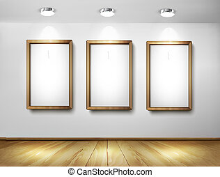 proyectores, de madera, floor., pared, vector, marcos, vacío, illustration.