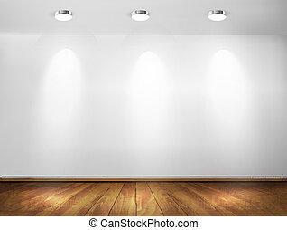 proyectores, pared, concept., floor., de madera, vector, sala de exposición, illustration.