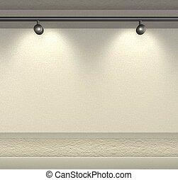 proyectores, pared, rende, espacio, brillantemente, copia, -3d, blanco, lit