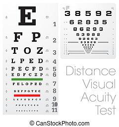 prueba, distancia, visual, agudeza