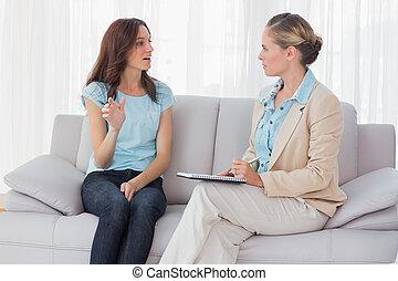 psicólogo, ella, conversación de mujer