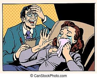 psicólogo, mujer, risa, lágrimas
