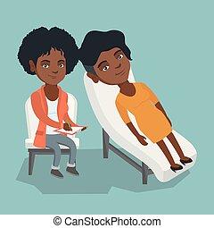 psicólogo, paciente, sesión, teniendo, africano