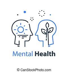psicología, psicoterapia, humano, o, estima, concepto, sí mismo, cognoscitivo, ego, perfil, cabeza