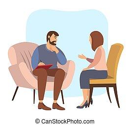 psychotherapies., recepción, psicoterapeuta, hablar, pacientes, o, mujer, psicólogo