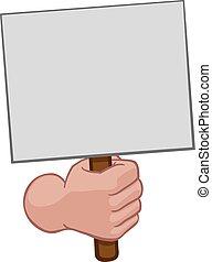 Puño en la mano sosteniendo una señal en blanco o dibujos animados