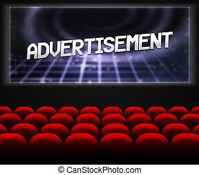 Publicidad en el fondo del cine