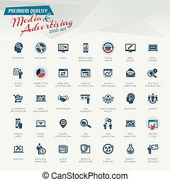 publicidad, medios, icono, conjunto