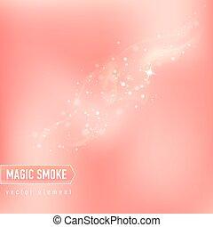 publicidad, stars., encendido, humo, mágico, fondo alimento, package.