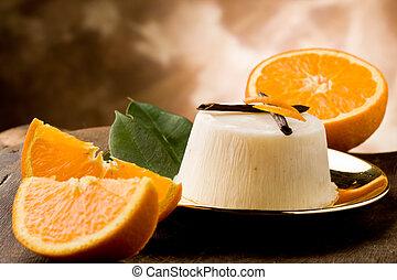 pudding de naranja de vainilla