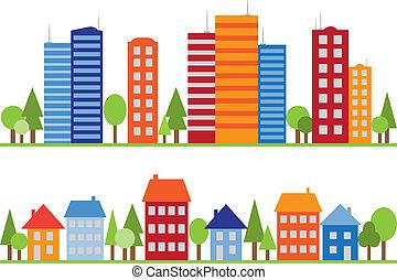 pueblo, ciudad, patrón, seamless, aldea, o