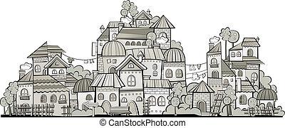 pueblo, construcción, grayscale, caricatura, vector