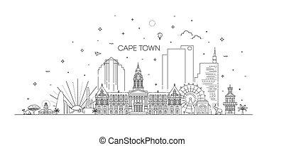 pueblo, línea, contorno, ilustración, capa, arquitectura