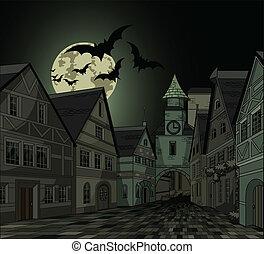 pueblo, noche, fantasmal