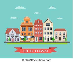 pueblo, principal, viejo, calle, aldea