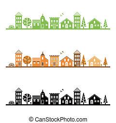 pueblo, promedio, ilustración