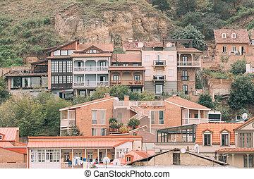 pueblo, residencial, georgia., tbilisi, viejo, distrito