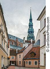 pueblo, riga, calle, viejo, letonia