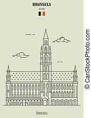 pueblo, señal, belgium., bruselas, vestíbulo, icono