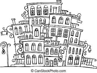 pueblo, vector, grayscale, caricatura