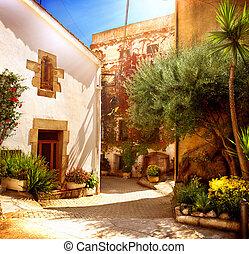 pueblo, viejo, catalunya, mediterráneo, barcelona., calle, españa