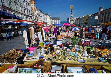 pueblo viejo, linz, pulga, austria, mercado