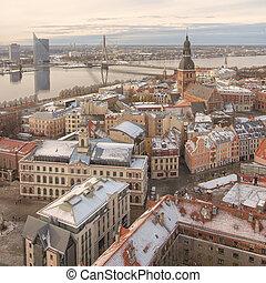 pueblo, viejo, riga, panorama, catedral