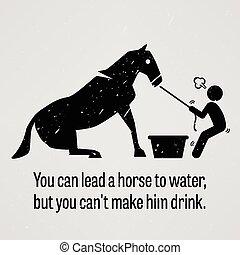 Puedes llevar un caballo al agua menos Y