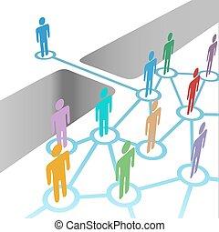 Puente a unirse a la diversa unión de la red