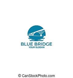 puente, azul, diseño, logotipo, vector