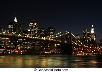 puente, brooklyn, noche