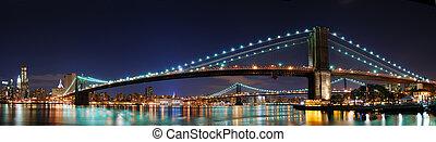 puente, brooklyn, yor, nuevo, panorama