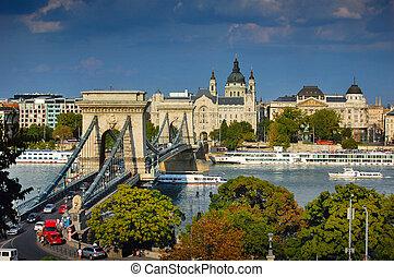 puente, budapest, cadena, famoso