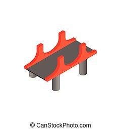 Puente con pilares rojos icono al estilo isometrico 3D