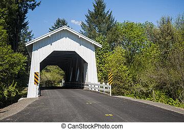 Puente cubierto de blanco