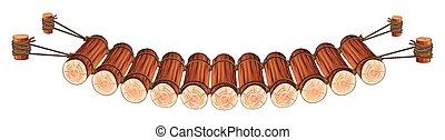 Puente de madera atado a la cuerda