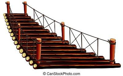 Puente de madera con cuerda
