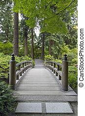 Puente de madera en el jardín japonés