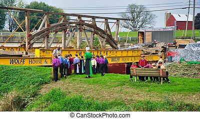 puente, desmantelar, cubierto, editorial