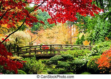 Puente en un jardín